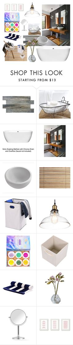 enjoy your bath by ioakleaf on Polyvore featuring interior, interiors, interior design, home, home decor, interior decorating, Black, Pottery Barn, Wyndham Collection and SomerTile