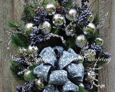 Items similar to Hanukkah Wreath - Indigo Winter Snowflake Wreath - Sapphire and Silver Door Hanger - Unique Seasonal Wreaths - Winter Wonderland - Christmas on Etsy Snowflake Wreath, Heart Wreath, Snowflakes, Floral Wreath, Easter Wreaths, Christmas Wreaths, Victorian Gardens, Winter Wonderland Christmas, Valentine Wreath