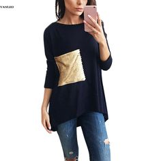 VANLED Women Casual Long Sleeve T-shirts Tops Brief Asymmetric Bottoming O Neck Tunic Women Shirts with Sequined Gold Summer Top