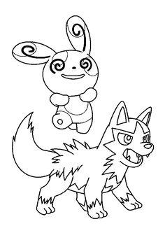 Coloriage de Medhyèna et de Spinda, deux mignons Pokémons