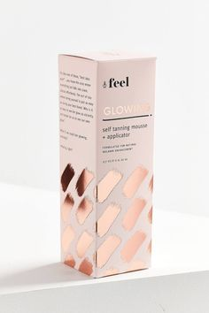 Discover the World's Top Designers & Creative Professionals Shop Feel Glowing Self-Tanning Mousse + Applicator at Urban Outfitters today. We carry all the latest styles, colors and brands for you to choose from right here. Packaging Box Design, Design Package, Pretty Packaging, Brand Packaging, Label Design, Design Shop, Feminine Packaging Design, Design Design, Logo Design