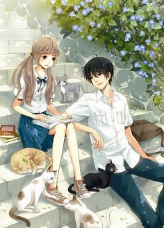 ✮ ANIME ART ✮ animals. . .anime couple with animals. . .cats. . .staircase. . .reading. . .books. . .flowers. . .cute. . .kawaii