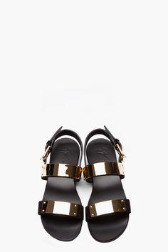 Male Fashion Trends: Eli Mizrahi y sus Black Suede And Gold Plated Zak 10 Sandals de Giuseppe Zanotti Gold Sandals, Suede Sandals, Black Sandals, Nude Shoes, Shoes Sandals, Sandals Sale, Top Shoes, Cute Wedges Shoes, Derby