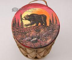 Native Tarahumara Painted Drum 8x18 -Moonlit Bear