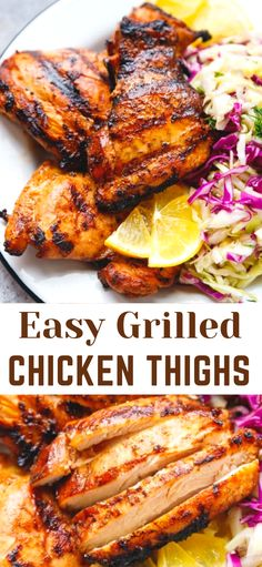 EASY GRILLED CHICKEN THIGHS Easy Grilled Chicken Thighs – juicy marinated boneless skinless chicken thighs, grilled to perfection and served with a salad, slaw or vegetables. Perfect to add to grain or grain-free bowls and salads. Chicken Thigh Grill Recipes, Grilled Chicken Thighs Boneless, Marinated Chicken Thighs, Marinated Grilled Chicken, Grilled Chicken Recipes, Easy Chicken Recipes, Oven Chicken, Best Grilled Chicken Marinade, Perfect Grilled Chicken