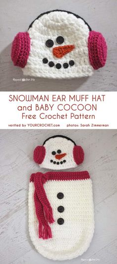 Snowman Hat and Baby Cocoon Crochet Baby Cocoon Pattern, Crochet Baby Hat Patterns, Crochet Bebe, Crochet Baby Hats, Free Crochet, Crochet Animal Hats, Crochet Character Hats, Crochet Christmas Hats, Snowman Hat