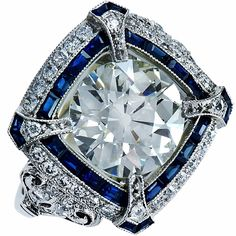 Handmade Platinum 3.80ct Old European Cut Diamond & Sapphire Ring