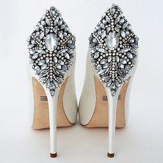 Badgley Mishka Wedding Shoes. Kiara, a stunning platform bridal shoe that makes a fabulous entrance and exit. Peep toe, crystal back ornament.