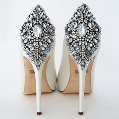 Badgley Mishka Wedding Shoes. Kiara, a stunning platform bridal shoe that makes a fabulous entrance and exit. Peep toe, crystal back ornament.