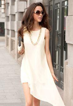 Pretty - Solid Color Asymmetric Hem |  Chiffon & Voile Dress - dresslily.com