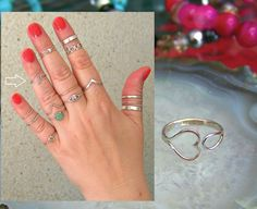 925 Sterling Silver Heart ring, Band Midi Ring Above Knuckle  http://stores.ebay.ie/SilverTrend4U?_rdc=1
