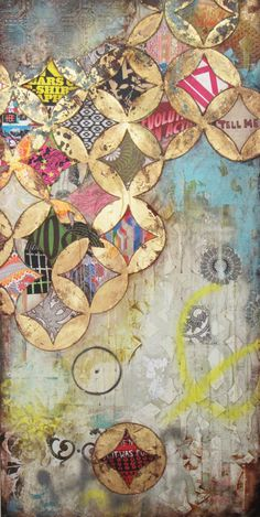 "Jill Ricci Secret mixed media on canvas, 24""x48"""