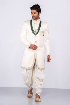 MFS ivory embroidered dhoti with ivory embroidered dhoti The Effective Pictures We Offer You About Groom Outfit green A quality picture can tell you many things. You can find the most beautiful pictur Wedding Dress Men, Indian Wedding Outfits, Wedding Groom, Wedding Attire, Wedding Poses, Wedding Couples, Sherwani Groom, Wedding Sherwani, Bengali Bride