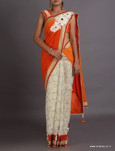 Puja Delicate Weave With Bold Broach Patterned Pallu With Tasseled #DesignerLehengaSaree