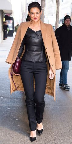 b9f3706de65cb Katie Holmes delivered a praise-worthy outfit while out and about in New  York City. Her leather blouse