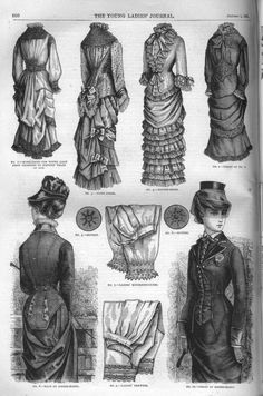 Front and Back views of a Riding Habit, plus two Home dresses (one with a Back view), a Dinner dress, Knickerbockers, Drawers, and the detail on two different Victorian era buttons ~ c1881, YLJ