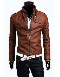 Brown Buttoned Style Slimfit Leather Jacket by styloleather.com