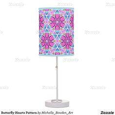 Butterfly Hearts Pattern Desk Lamp
