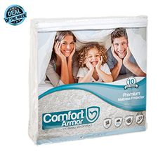 Product review for COMFORT ARMOR Mattress Cover, Queen Size, Waterproof and Hypoallergenic Cover, Protects Mattress from Spills, Body Fluids, Dust Mites, Vinyl Free Breathable Surface.  - A Perfect Protector for a Perfect Mattress A good night's sleep is important – and we don't want you to lose yours! Therefore, we're thrilled to bring to you a premium quality mattress protector that will keep your expensive mattresses safe & intact.  Super Soft,...