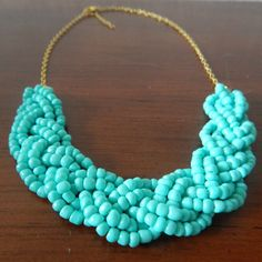 Teal Beaded Braid Statement Necklace by AquaGiraffe on Etsy $22