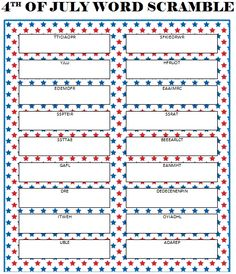 4th of July Word Scramble (Free Printable) #July4th