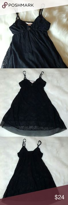 VS Very Sexy black lace babydoll Super soft lace. Gold clasp details. Flattering triangle bra lined with sheer material. Sheer trim. Never worn. Extra bridal shower gift. Victoria's Secret Intimates & Sleepwear