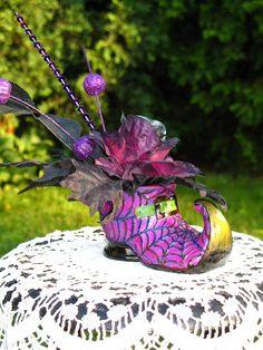 Purple Witch Shoe / Halloween Decoration / by englishrosedesignsoh, $24.99