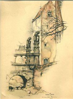 1943. Het Oude Slot. Bij de maanden maart/april als vignet op de kalender 1948 gebruikt. Uitgegeven door het Hollandsche Uitgevershuis te Amsterdam.