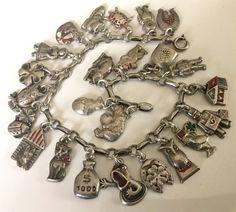 Antique Art Nouveau Silver & Bracelet à breloques en émail cru - Autriche début des années 1900.