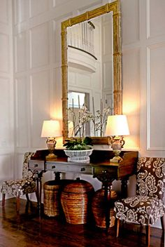 Great look for entry, large mirror, pair of lamps, some upholstered pieces for wow!