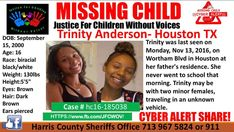 """11 Likes, 1 Comments - JFCWOV (@justice_for_children_wo_voices) on Instagram: """"❤️We just spoke to Trinity's mother and are happy to say #TrinityAnderson has been safely located!…"""""""
