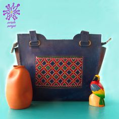 98b98298383 Leather Shoulder Bag from India with Kutch Embroidery in Blue