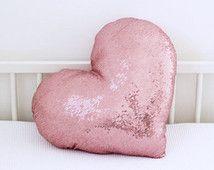 Heart shaped pillow Pink heart metalic sequins throw by Nuppi Girl Nursery, Girl Room, Nursery Decor, Bedroom Decor, Girls Bedroom, Bedroom Ideas, Kids Pillows, Throw Pillows, Sequin Pillow