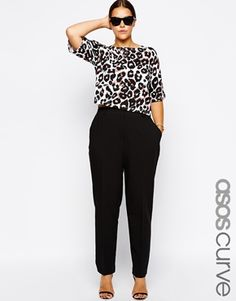 Image 1 of ASOS CURVE Cigarette Pants In Crepe