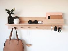 Home Architecture : Entryway Organizer – Wall mount coat rack Decor housewarming gift for home Mail holder entryway organiser key holder entryway shelf Entryway Coat Rack, Entryway Shelf, Coat Rack Shelf, Entryway Wall Decor, Entryway Organization, Wall Mounted Coat Rack, Entryway Wall Organizer, Door Organizer, Entry Shelf With Hooks