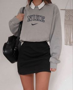Cute Hipster Outfits, Cute Casual Outfits, Hot Outfits, Retro Outfits, Skirt Outfits, Outfits For Teens, Vintage Outfits, Kpop Fashion Outfits, Vintage Nike
