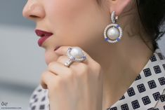 Podnebesnaya and Podnebesny. Pearls and Gems earrings and a ring with South Sea pearls, sapphires and diamonds