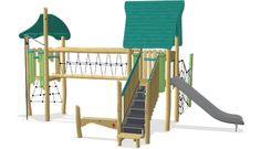 Double tower with spider net and bridge ADA - NRO2009 - Play structures - Playground Equipment - KOMPAN