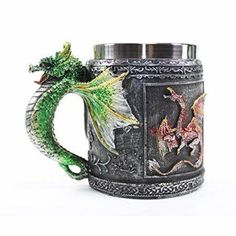 Dragon Glass, Dragon Head, Green Dragon, Head And Neck, Celtic, Medieval, Mugs, Halloween, Party