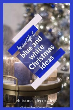These blue and white indoor Christmas decorating ideas are so elegant! The Christmas tree decorations look gorgeous in the living room and the table setting is beautiful. #fromhousetohome #christmas #christmasdecor #blueandwhite #christmasdecoratingideas  #bluechristmasdecor Blue Christmas Decor, Christmas Decorations For The Home, Christmas Table Settings, Christmas Home, White Christmas, Christmas Fireplace Mantels, Fireplace Mantle, Haunted House Decorations, Beautiful Christmas Trees