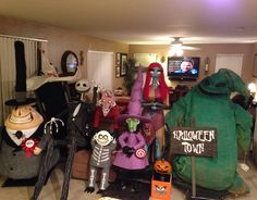 Handmade DIY Mayor, Lock, Shock, Barrel, Sally, Jack Skellington, Zero, & Oogie Boogie from Nightmare before Christmas. The whole family off the roof and together. Halloween display. Life size to scale. 360 degree viewable. Mostly made from pvc frames, felt, bubble wrap and pink insulation foam. DIY Halloween town sign and Jack in the box.
