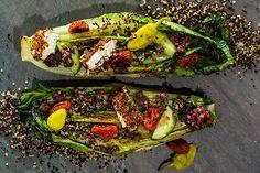 Charred Romaine Greek Salad With Quinoa-Crusted Feta