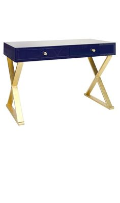 Writing Desks, Navy Blue Lacquer Gold Leaf Writing Desk / Dressing Table, so beautiful, one of over 3,000 limited production interior design inspirations inc, furniture, lighting, mirrors, tabletop accents and gift ideas to enjoy repin and share at InStyle Decor Beverly Hills Hollywood Luxury Home Decor enjoy & happy pinning