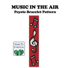 Music in the Air - Peyote Stitch Bracelet Pattern Seed Bead Patterns, Peyote Patterns, Loom Patterns, Bracelet Patterns, Beading Patterns, Bead Loom Bracelets, Peyote Beading, Diy Bracelet, Bracelets
