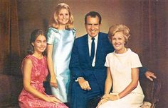 Nixon Family Album... Richard Nixon family portrait, 37th #President of the United States 39th #FirstLady Patricia. Children:	 Tricia and Julie #PresidentsOfUSA