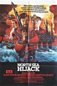 north sea hijack uk one sheet movie poster with roger moore and james mason known as ffolkes in the US, available to purchase from our collection. Action Movie Poster, Disney Movie Posters, Action Movies, Disney Movies, British Commandos, Roger Moore, Title Card, Film Studio, Bbc Radio