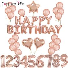 Rose Balloon Bunting Happy Birthday Bunting with 20 pcs 12 Inch Latex Inflating UK Happy Birthday Bunting, Gold Birthday Party, Happy Birthday Balloons, Happy Birthday Parties, Gold Party, Baby Birthday, Birthday Celebration, Birthday Balloon Decorations, Anniversary Decorations
