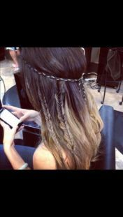 ombre, multiple fishtails, and a braided hairband - perfect boho look
