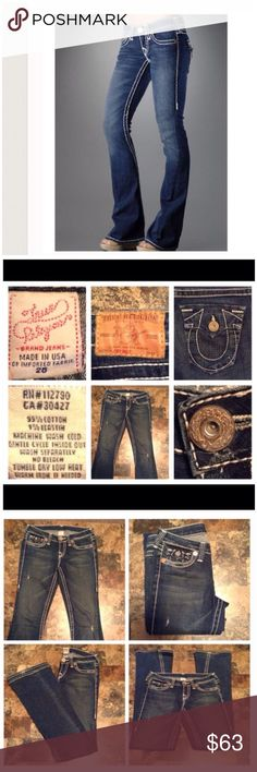 "True Religion JOEY BIG T Jeans First pic of model wearing this style of Jeans. Last 3 pics are actual item/color.  Flare. Flap pocket. Beautiful stitching.  Waist 28. Jeans are made of 99% Cotton & 1% Elastane.  Length ""43. Laying flat ""14. Inseam ""34. Rise ""8.5. Leg Opening ""9.5. This Item is not new, Its used and in EUC. Smoke/Pet Free home. Measurements are approximate & are done flat. Ask questions BEFORE purchase to ensure stress-free transaction. Use Offer button. I will NOT negotiate…"
