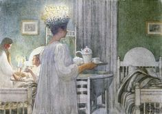 "1908 Christmas Morning (from ""Lasst Licht Hinein"" series) pencil and watercolour Carl Larsson - Part 6"